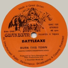 "BATTLEAXE - Burn This Town 7"" single"